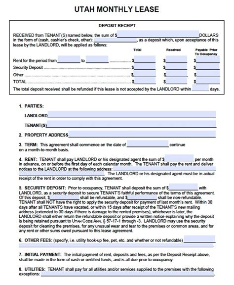 month to month lease agreement template free utah month to month rental agreement pdf template