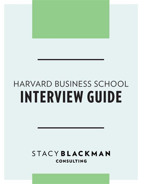 harvard business school interview guide stacy blackman