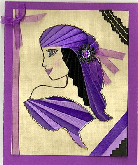 Iris Folding Paper - pretty purple hat scrapbook iris folding 4