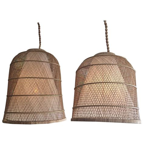 Basket Pendant Light Large Basket Hanging L At 1stdibs