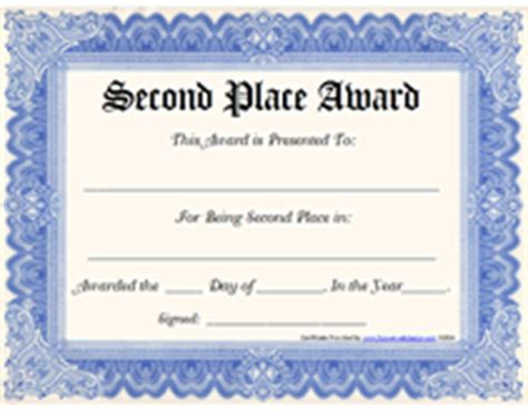 1st prize certificate template free printable second place award certificates