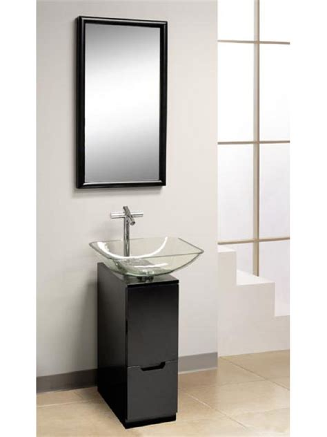bathroom modern bathroom design with small vanity and glass vessel sink also stainless faucet