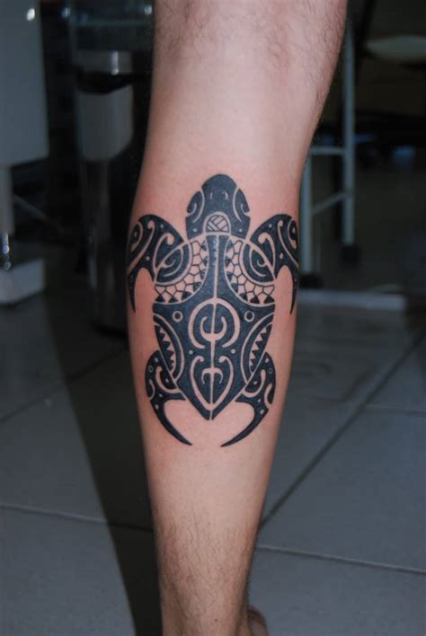 calf tribal tattoos tribal black turtle leg on calf tattooshunter