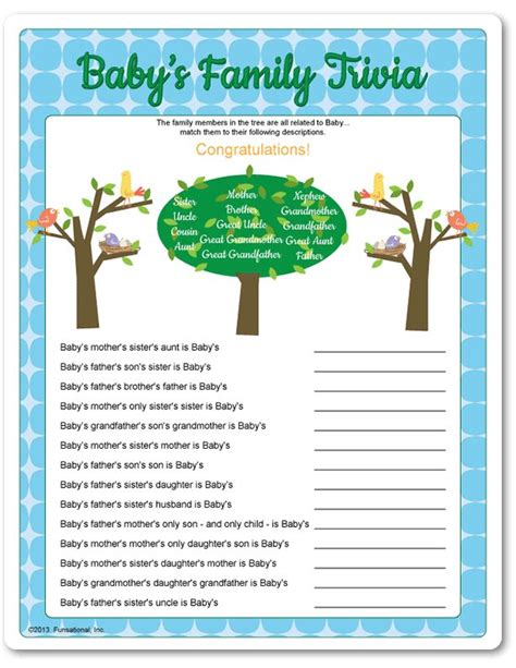 Fun Baby Facts For Baby Showers by Printable Baby S Family Trivia Baby Shower Games