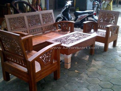 Kursi Tamu Di Pondok Bambu kursi tamu jepara minimalis kayu jati ukiran bambu set 211