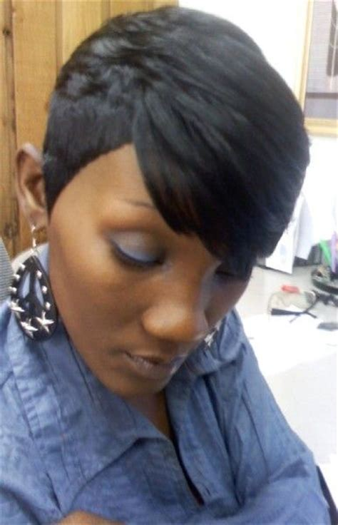 short black hair sew ins shondra s quick weave hairstyles short cropped woman