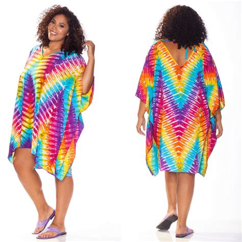 tie dye poncho cover up with v neck
