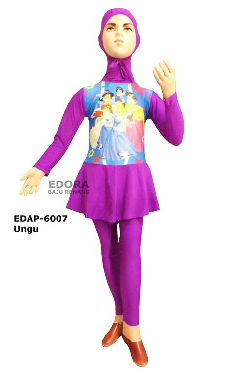 Sale Keranjang Baju Karakter Bia baju renang anak muslimah karakter edap 6007 ungu