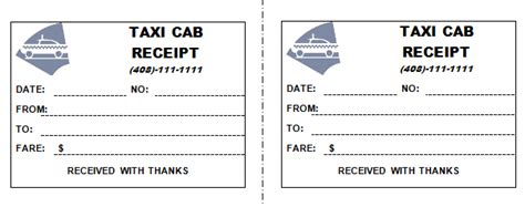 taxi card receipt template taxi receipt templates excel pdf formats