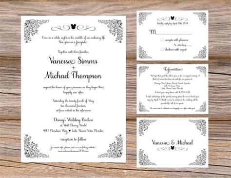 wedding invitation inserts template sle disney fairytale wedding invitation suite mickey