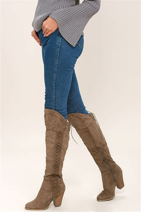 chic taupe knee high boots vegan suede knee high boots