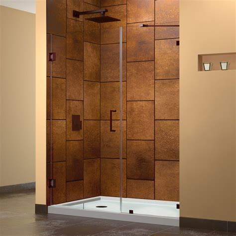 Modern Bathroom Door Unidoorlux 72 Quot Hinged Shower Door Rubbed Bronze