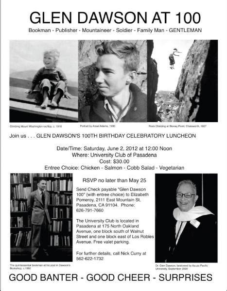 Glen Dawson to mark a century! | Sierra Club Angeles Chapter