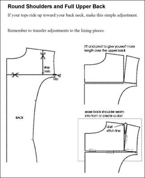 pattern drafting tips round shoulders and full upper back adjustment sew