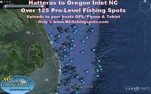 hatteras nc to oregon inlet nc offshore fishing spots map