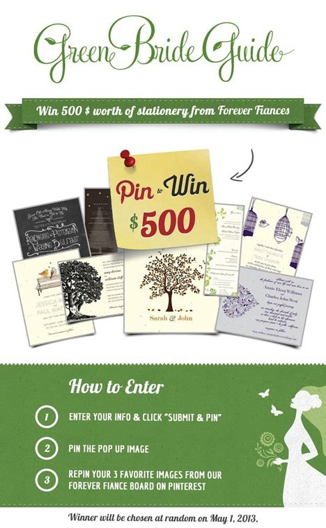 Wedding Invitation Giveaway - pin it to win it green wedding invitation giveaway