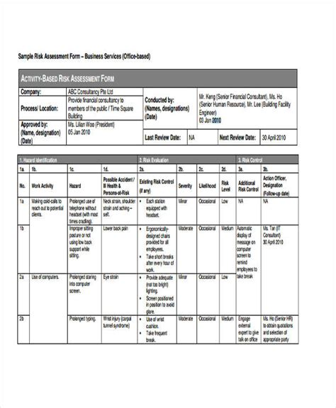 Risk Assessment Form Sle Bed Rail Risk Assessment Template