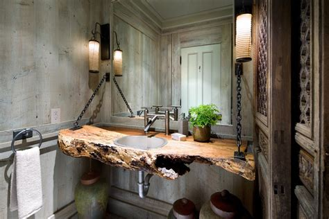 rustic beach bathroom industrial chic bathroom beach style with large mirror