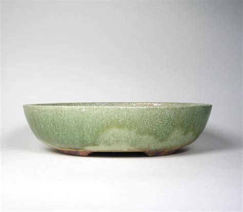 green oval bonsai pot shallow oval flower pot ceramic