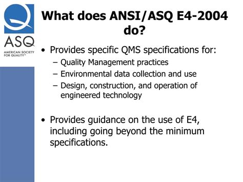 what does e4 ppt ansi asq e4 2004 overview powerpoint presentation