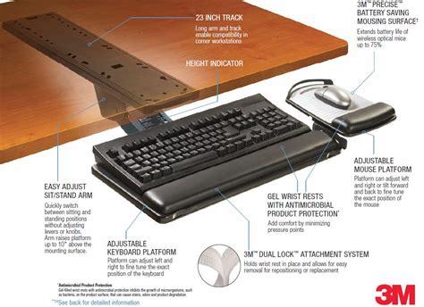 Adjustable Keyboard Tray Desk by 3m Akt180le Adjustable Desk Mount Ergonomic Keyboard
