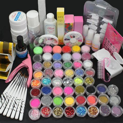 nail design art kit pro acrylic liquid nail art brush glue glitter powder uv