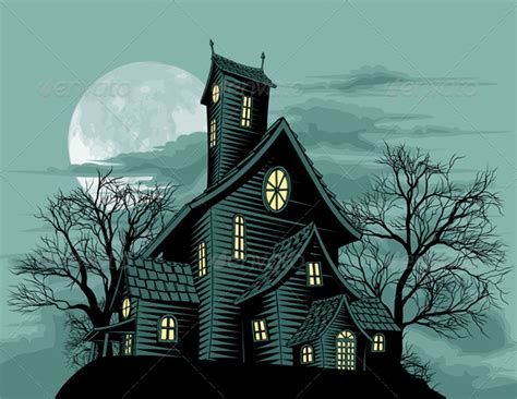 set the scene for a haunted mansion halloween party creepy haunted ghost house scene illustration graphicriver