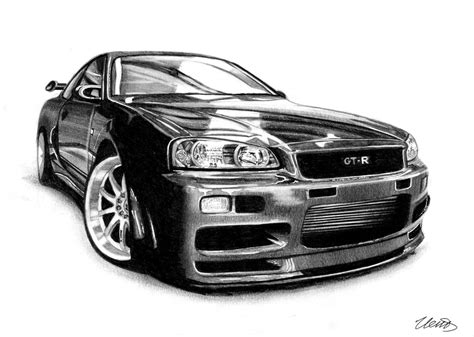 nissan skyline drawing by nissan skyline r34 isp drawing car by