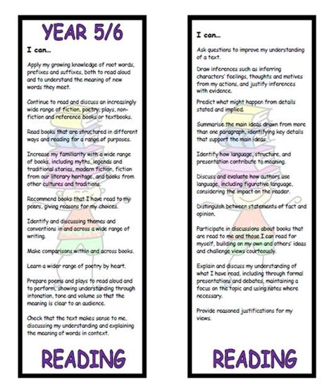 national 5 english reading year 5 6 reading bookmark i can statements