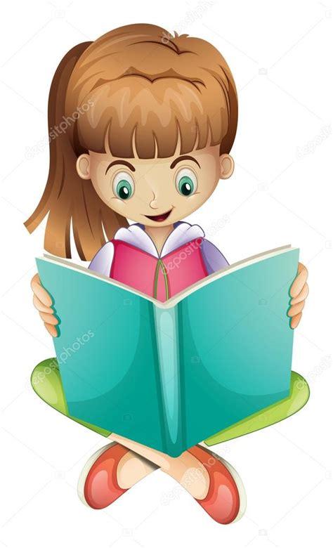 imagenes animadas leyendo un libro una ni 241 a leyendo un libro en serio vector stock