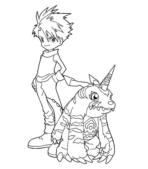 digimon tamers coloring pages coloring home