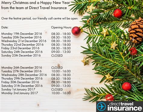 Opening Times For Direct Travel Insurance at Christmas and