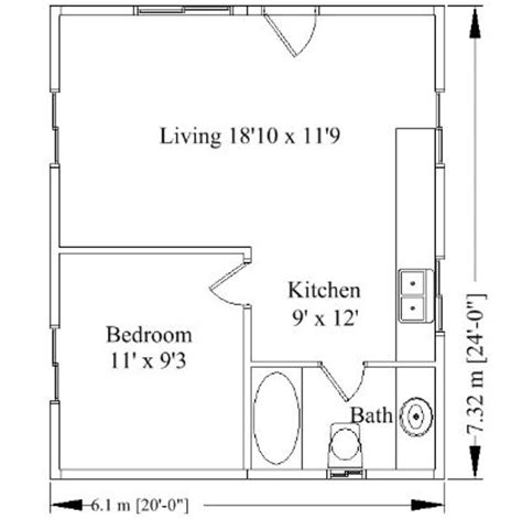 Small House Plans 20 X 24 One Bedroom 20x24 Floor Plan Garage Apartment