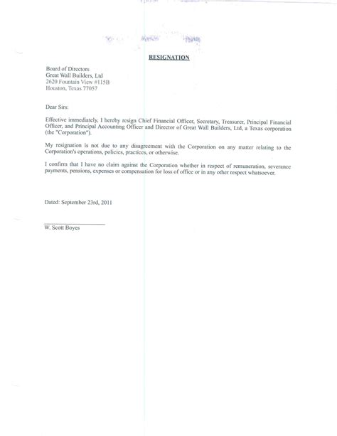 Great Letters Of Resignation by Great Wall Builders Ltd Form 8 K Ex 99 Resignation Letter September 29 2011