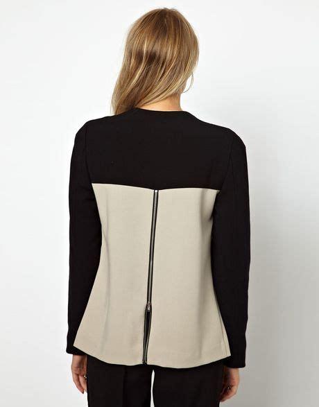 girl wallpaper zip donna karan new york peplum zip jacket with leather detail
