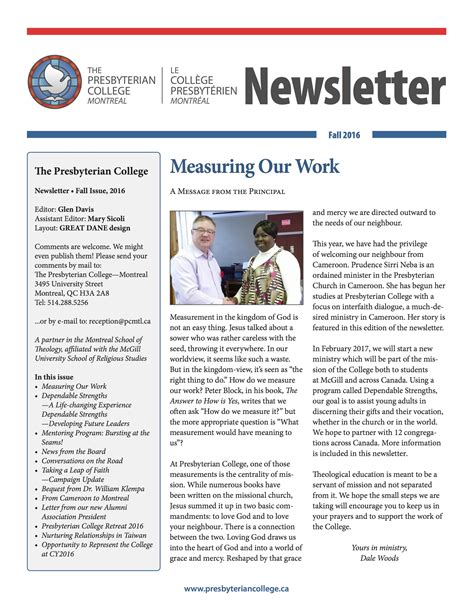 newsletter presbyterian college