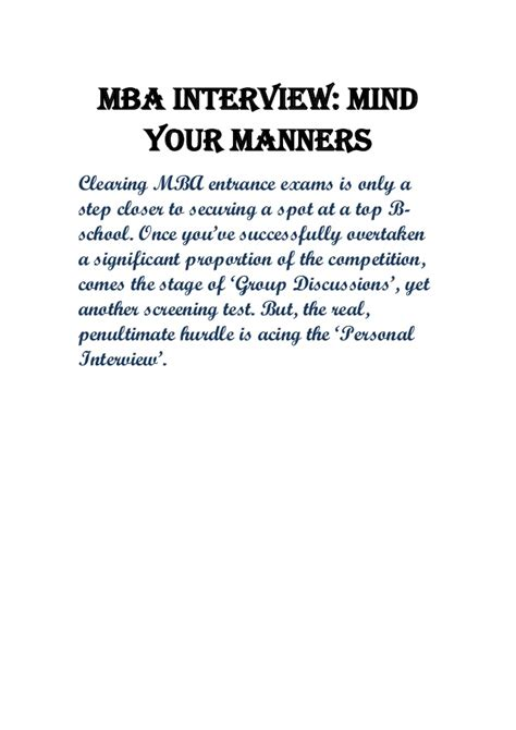 Questions To Ask On Mba Visit by Mba Mind Your Manners
