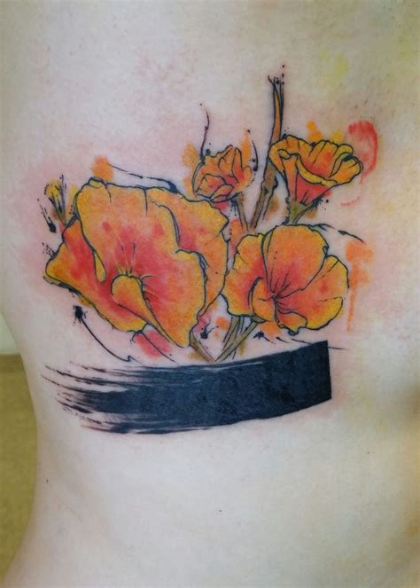 watercolor tattoos tucson watercolor style poppy by ben reiter at broken
