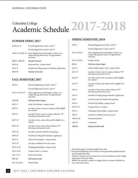 Columbia School Academic Calendar Columbia College Catalogs Calendars And Schedules