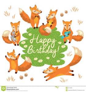 happy birthday card with cute foxes in vector stock vector