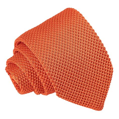 knitted orange tie dqt knit knitted plain solid burnt orange casual mens slim