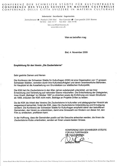 Lettre De Recommandation En Allemand lettre de recommandation la lanterne magique