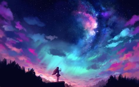 colorful sky wallpaper anime girl and colorful sky full hd wallpaper