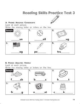 Reading Skills Practice Test 3 Grade 1 Printable Test