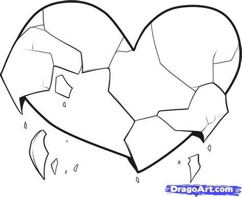 broken heart coloring page how to draw broken hearts step by step symbols pop