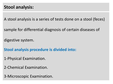 Physical Examination Of Stool by Ppt Stool Analysis Powerpoint Presentation Id 3007333