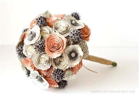 Wedding Bouquet Made From Books by Bridal Bouquet With Roses Poppies Sweetgum Made From