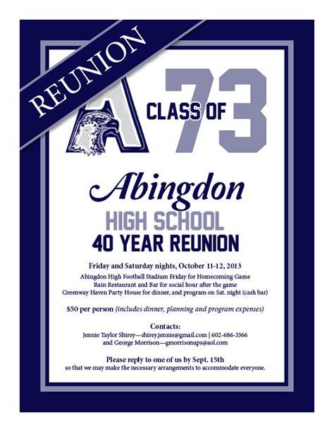 ahs class of 73 40th reunion flyer