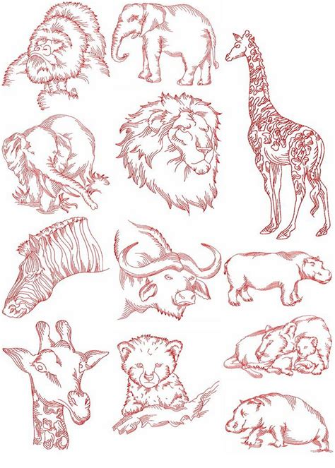 embroidery design redwork redwork african animals machine embroidery designs by