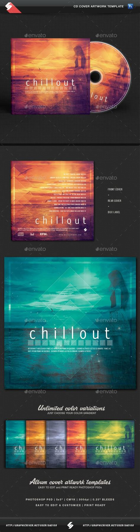 Chillout Vol 2 Atmospheric Cd Cover Artwork Template Pinterest Cd Cover Template And Artwork Podcast Artwork Template